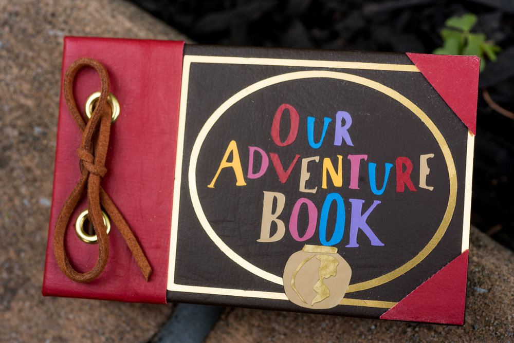 "saratoga springs wedding book from the movie ""up"" that says ""Our Adventure Book"""