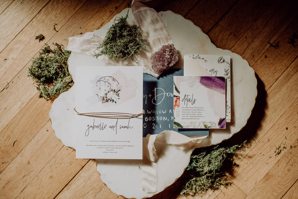 emma bauso design stationery samples with moss and crystal