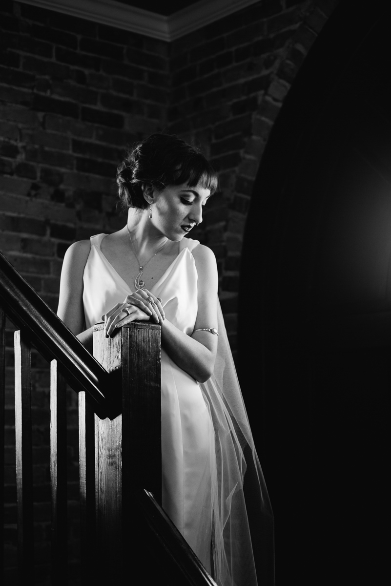 emily bauso styled shoot second bride posing on stairs