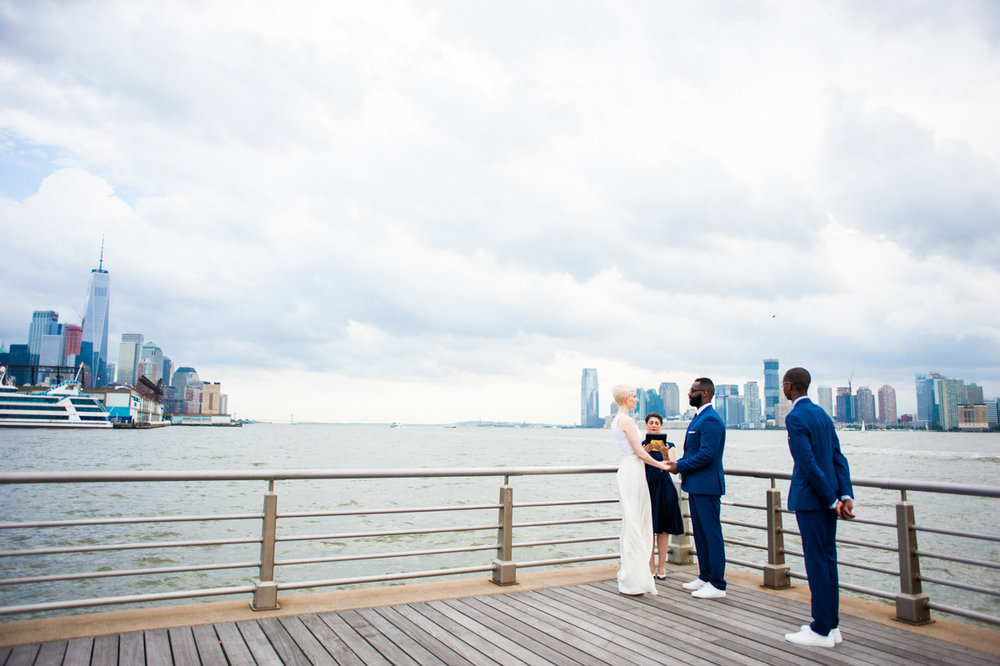 intimate new york elopement ceremony on pier