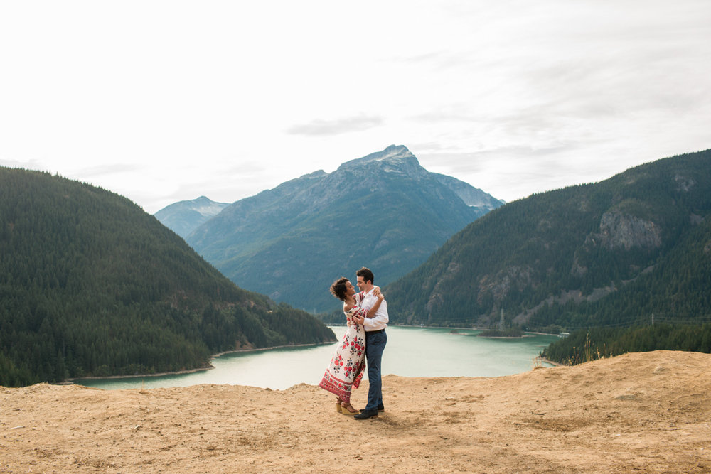 Diablo lake engagement session lyanna and michael on plateau overlooking lake