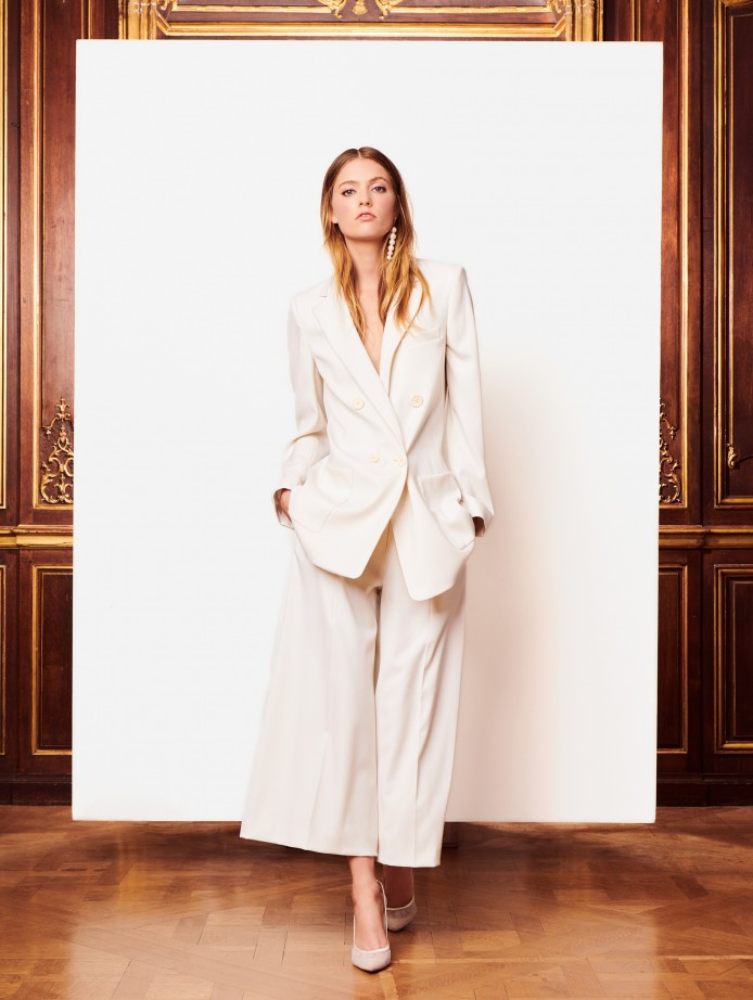 Oscar de la Renta  Stretch-Wool Gabardine Culottes  and  Stretch-Wool Gabardine Blazer