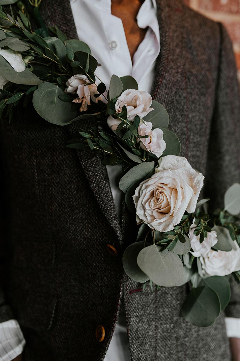 baltimore photo shoot hassan's floral sash detail shot