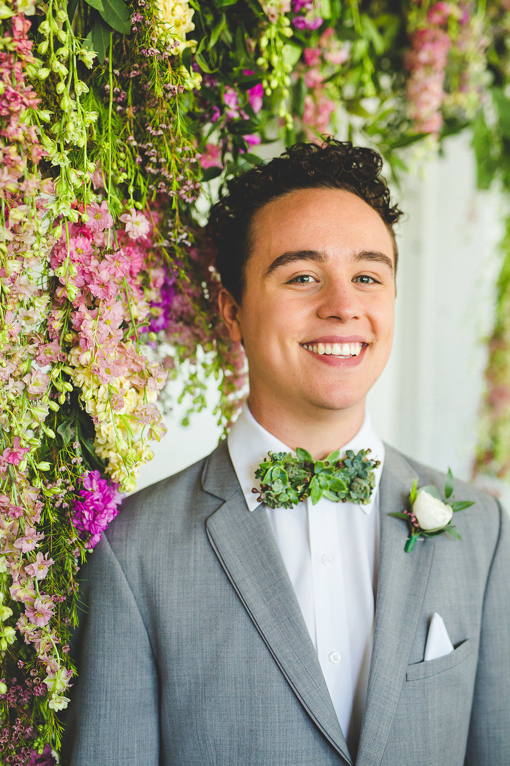 Succulent Bowtie and Flower Wall