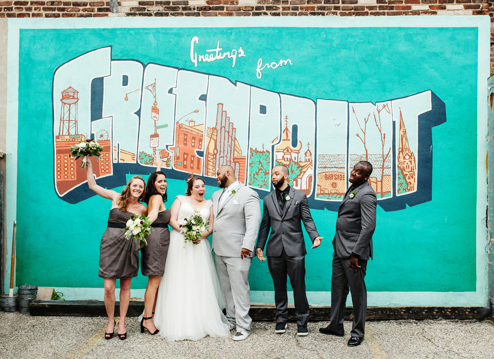 brooklyn bar wedding abby, joey, and bridesmaids and groomsmen