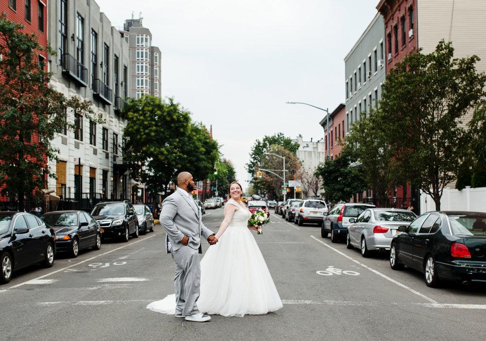 brooklyn bar wedding couple crossing street