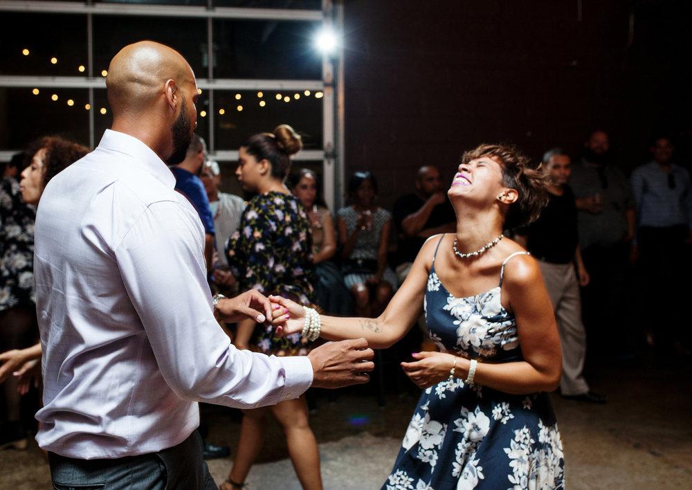 brooklyn bar wedding guests dancing at reception