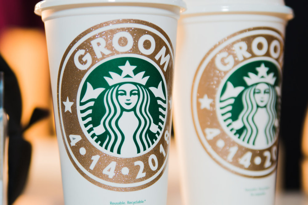 "rialto theatre wedding custom starbucks cups reading ""groom 4-14-2018"""