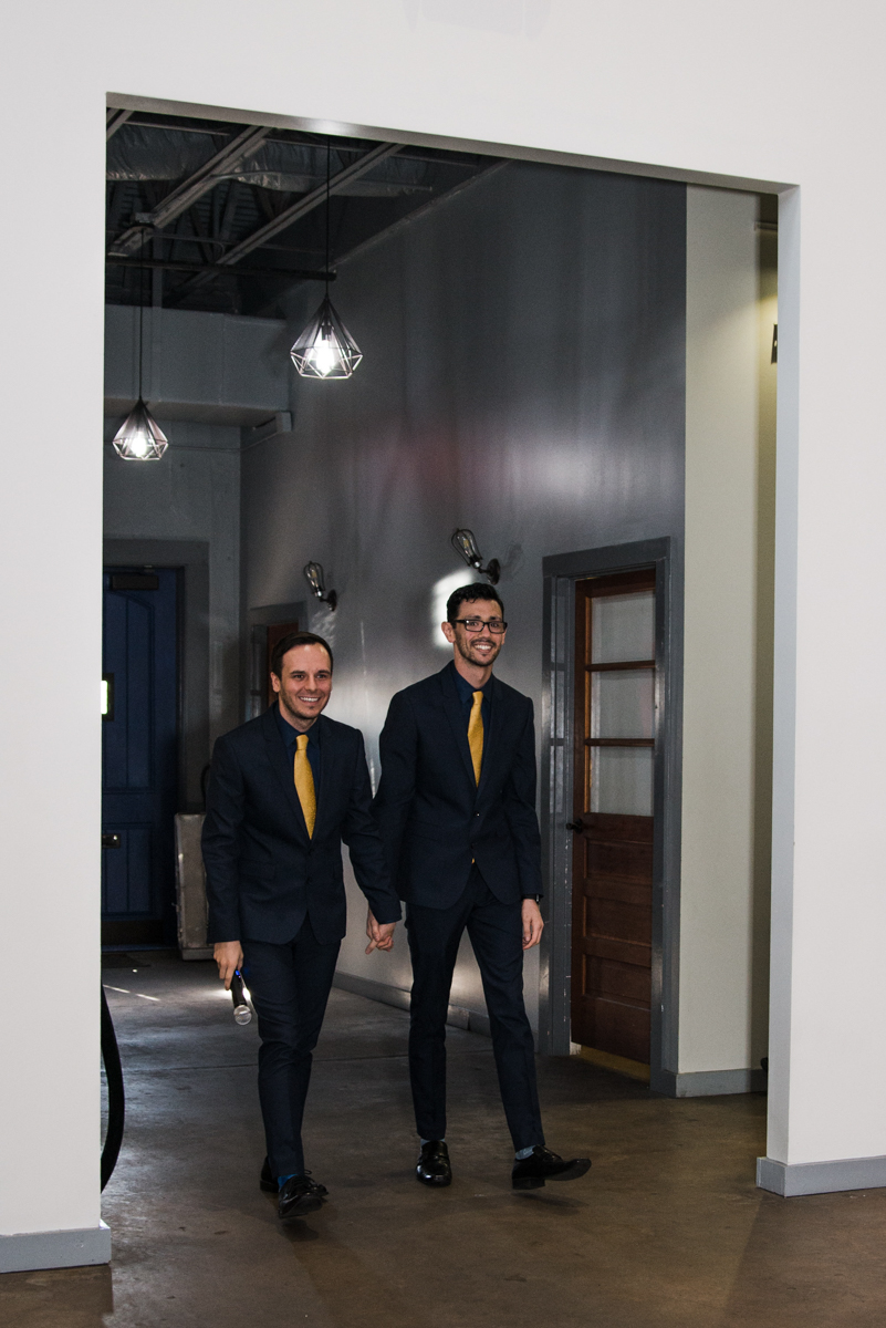 rialto theatre wedding grooms walking into hall