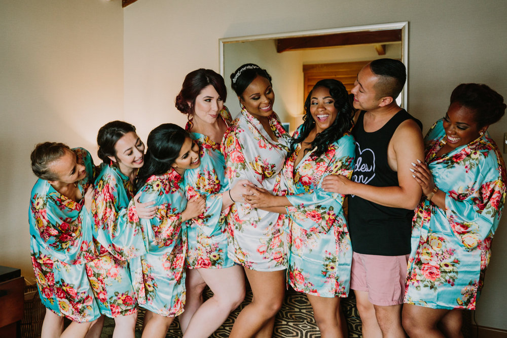 San Diego Tropical-Inspired Wedding janelle and wedding party in floral robes
