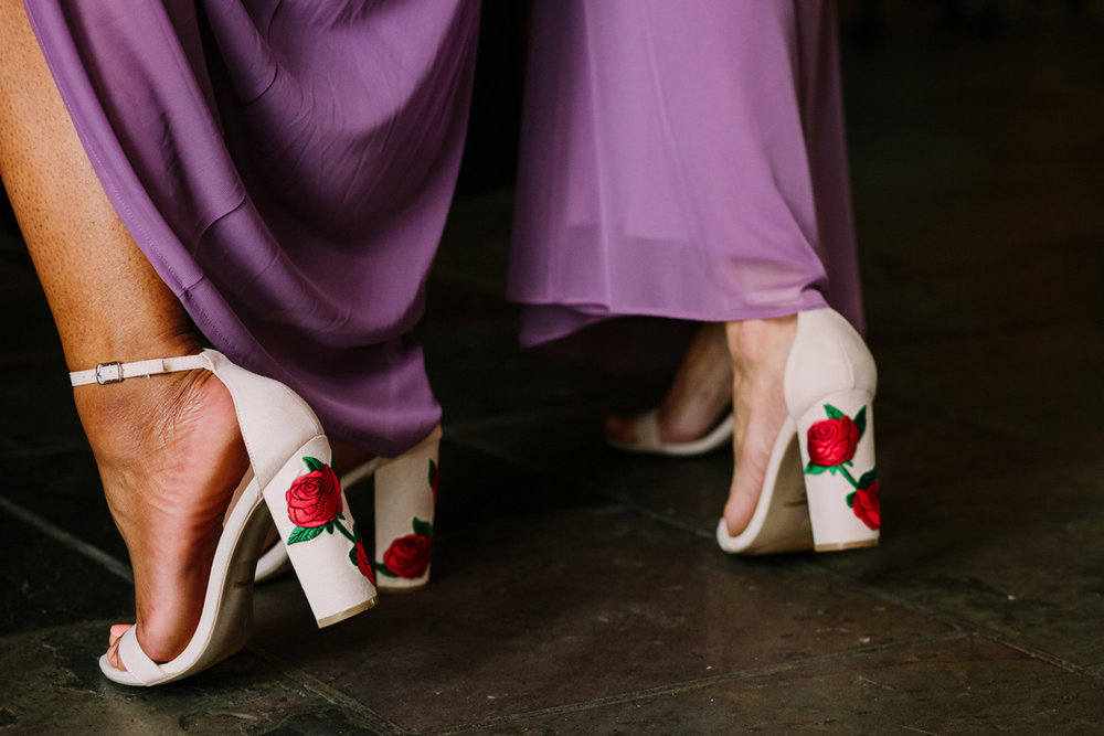 San Diego Tropical-Inspired Wedding bridesmaids' block heels with rose design on heel