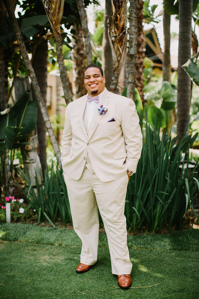 San Diego Tropical-Inspired Wedding portrait of william in garden