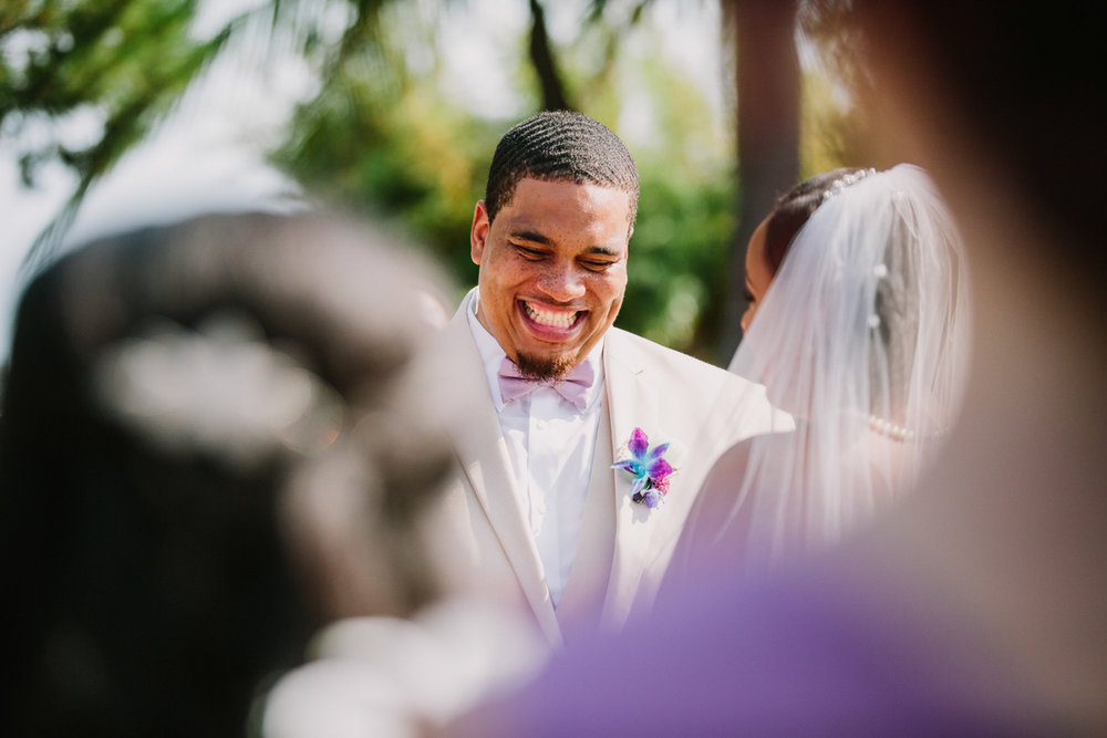 San Diego Tropical-Inspired Wedding william smiling during ceremony