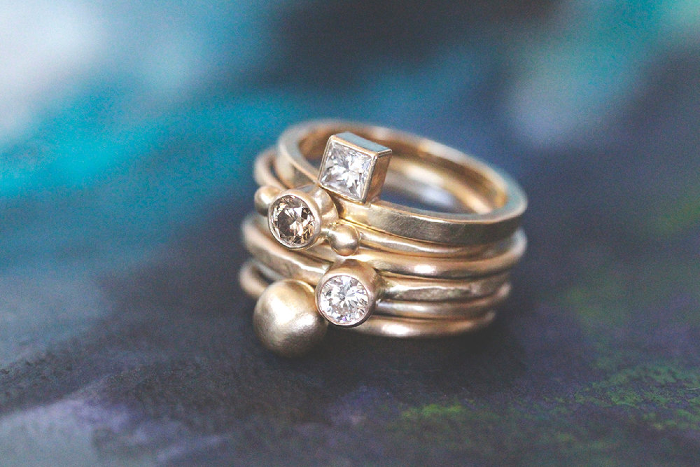 Rebecca Mir Grady queer jeweler offers modern rings made with environmentally sustainable processes in her Santa Fe New Mexico studio