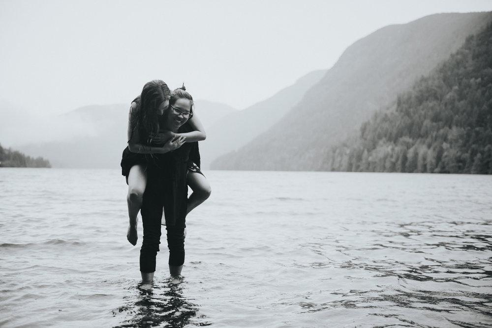 Cameron Lake Photo Session BC Canada piggyback ride in lake shallows