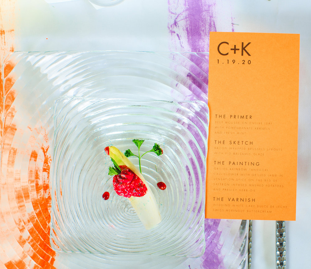 Love Out Loud Parker Colorado Styled Shoot entrée with art-themed menu