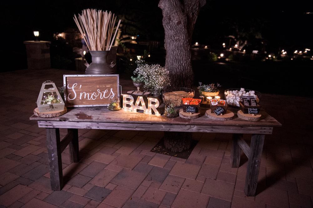 circle oak ranch farm wedding california s'mores bar