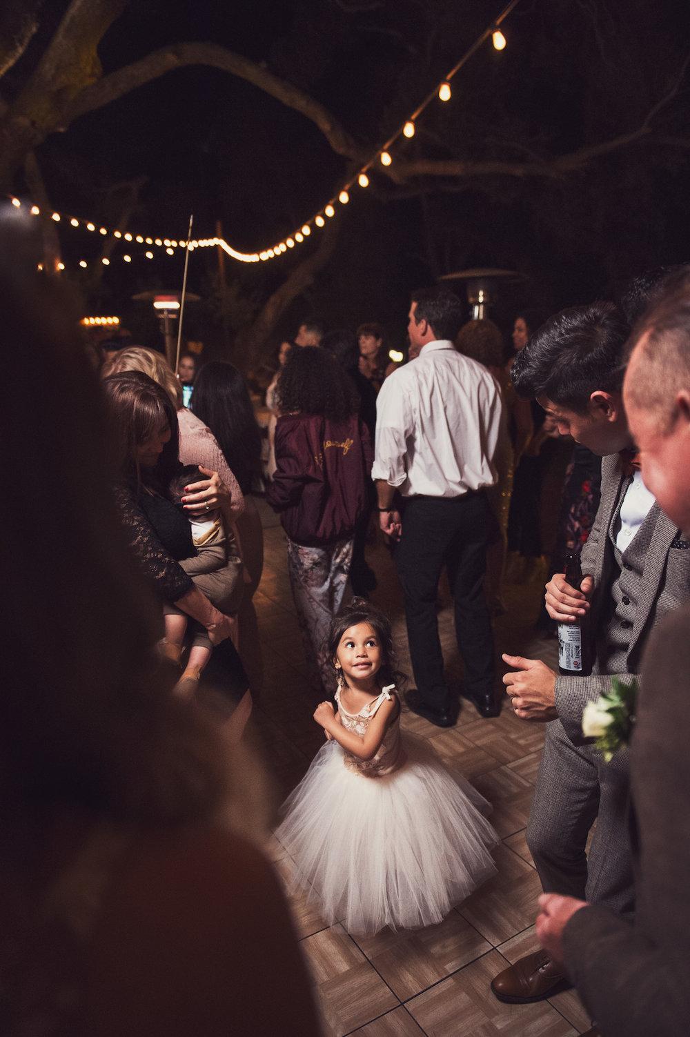 circle oak ranch farm wedding california little girl on dance floor