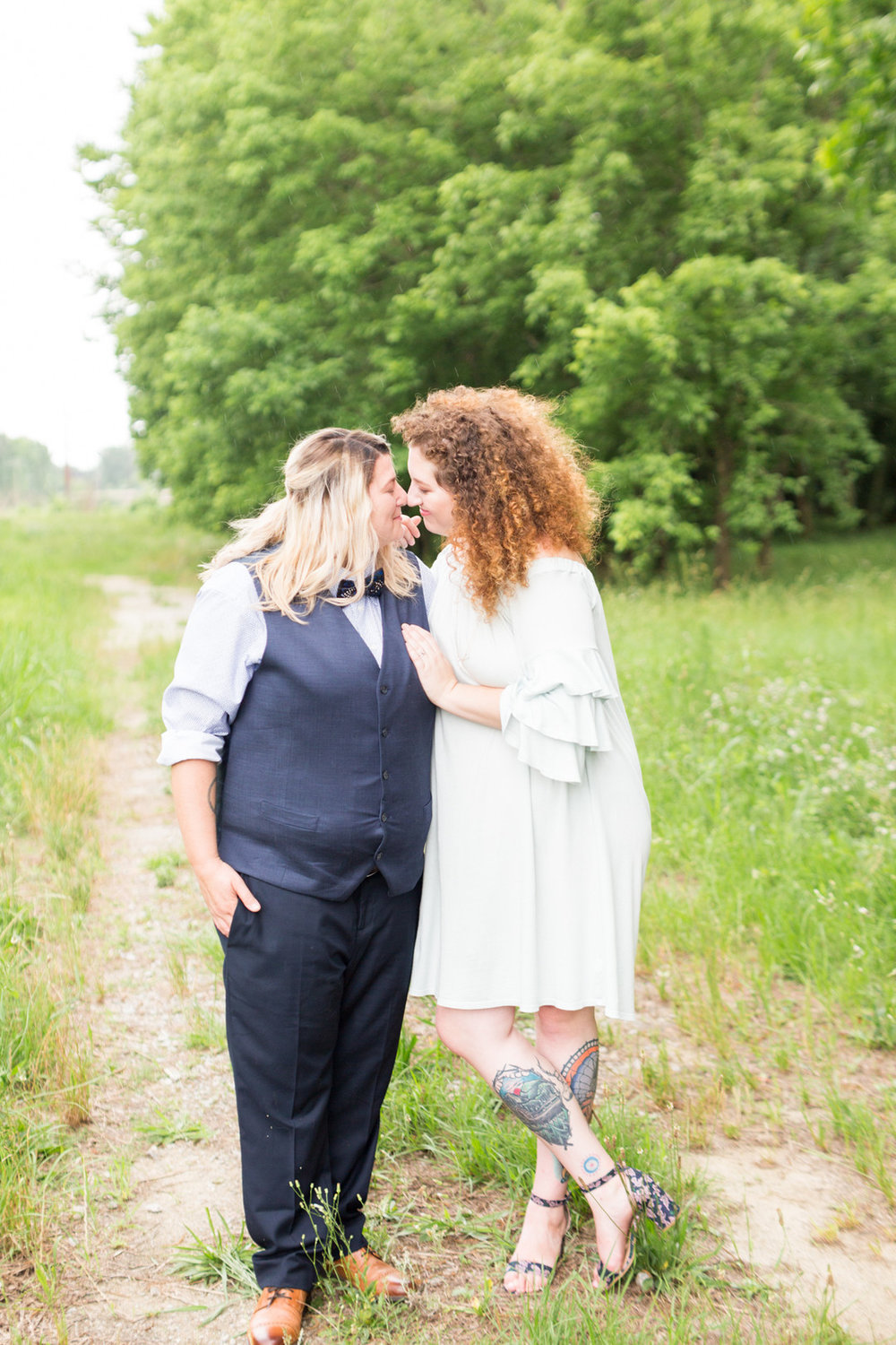 two brides embraced on trail newlywed portraits columbia south carolina jessica hunt photography
