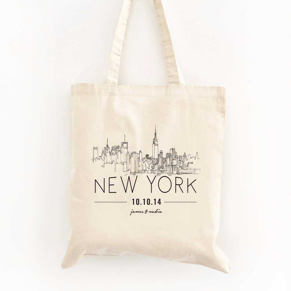 Custom NYC Wedding Welcome Tote by Swag Bag Co
