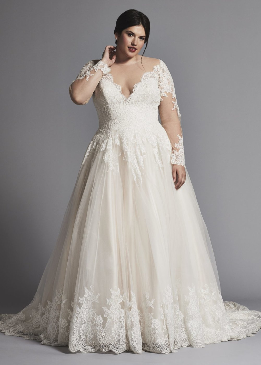 A-LINE LACE WEDDING DRESS WITH ILLUSION LONG SLEEVES by DANIELLE CAPRESE