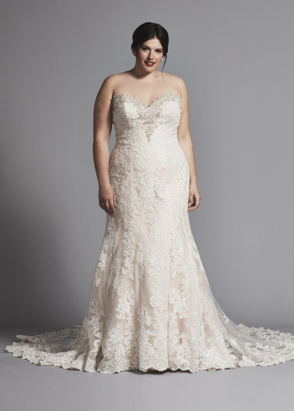 FIT AND FLARE LACE WEDDING DRESS WITH BEADING AT NECKLINE by DANIELLE CAPRESE