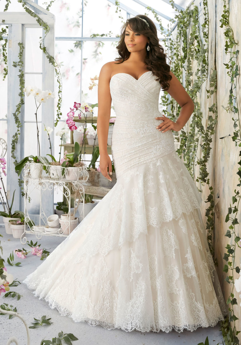 Asymmetrically Draped Chantilly Lace Wedding Dress by Morilee