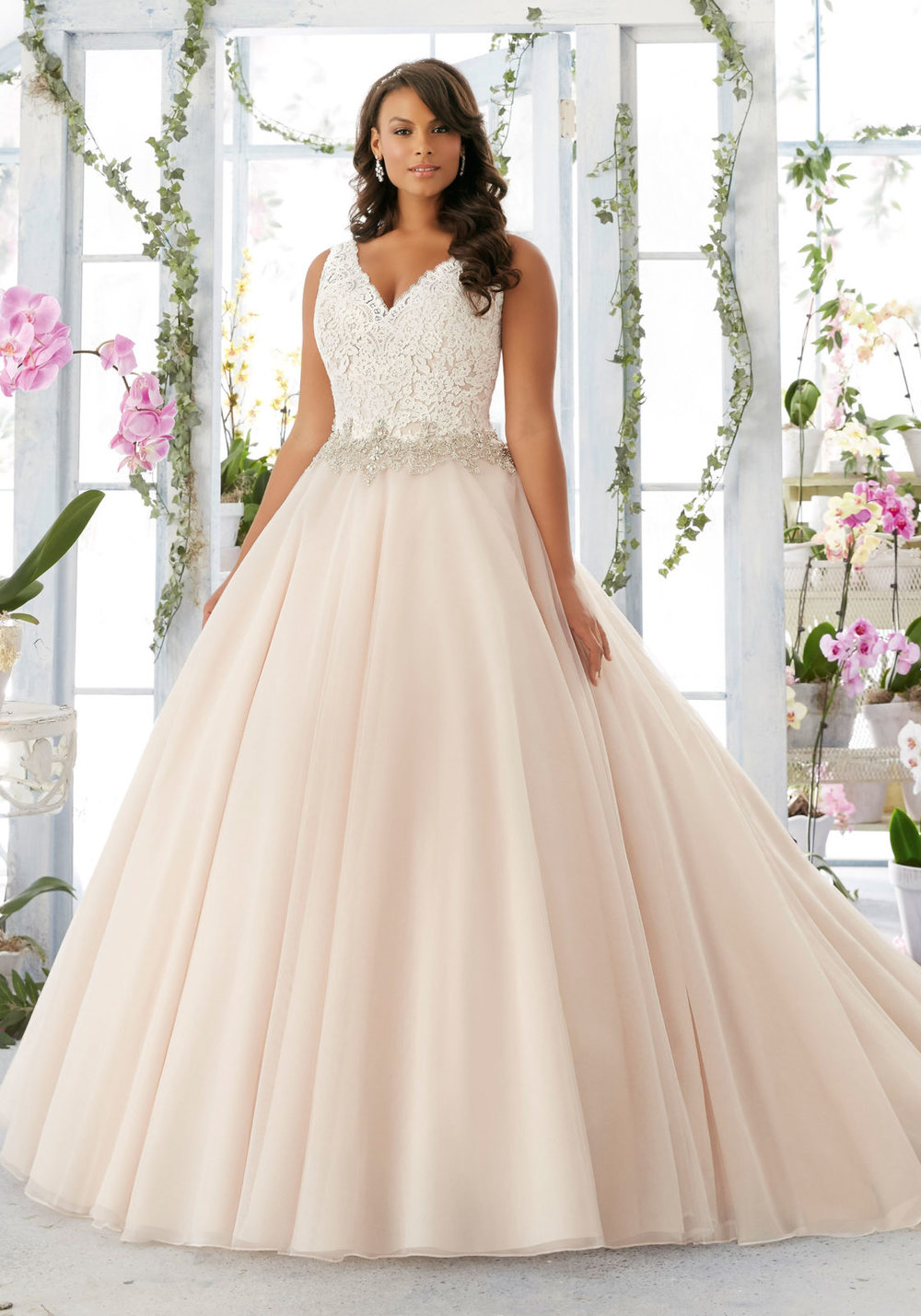 Embroidered Lace Bodice Edged with Beading on Tulle Wedding Dress by Morilee