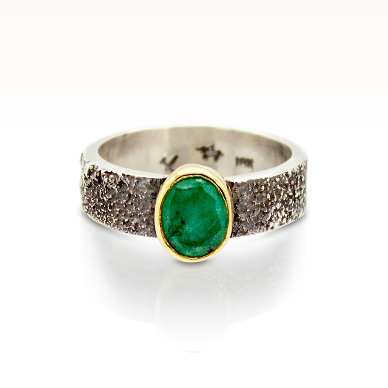 Emerald moondust wedding ring by Forge and Fountain Jewelry