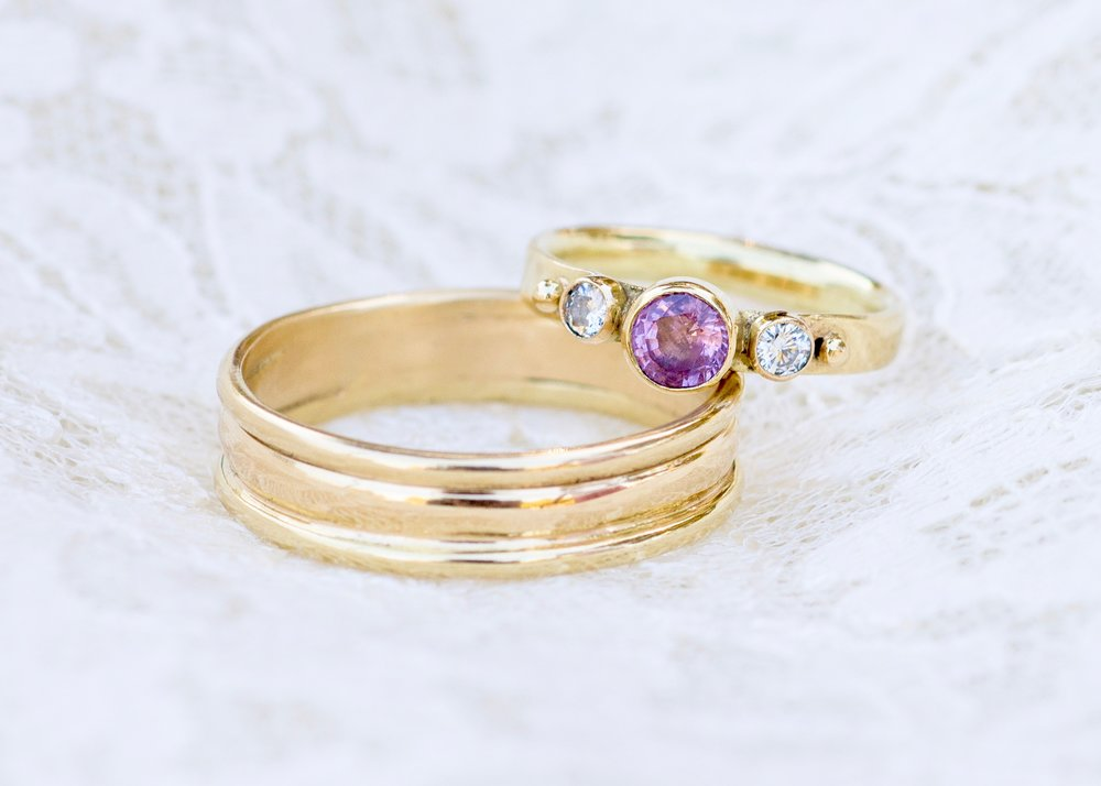 Engagement ring and wedding ring by Forge and Fountain Jewelry