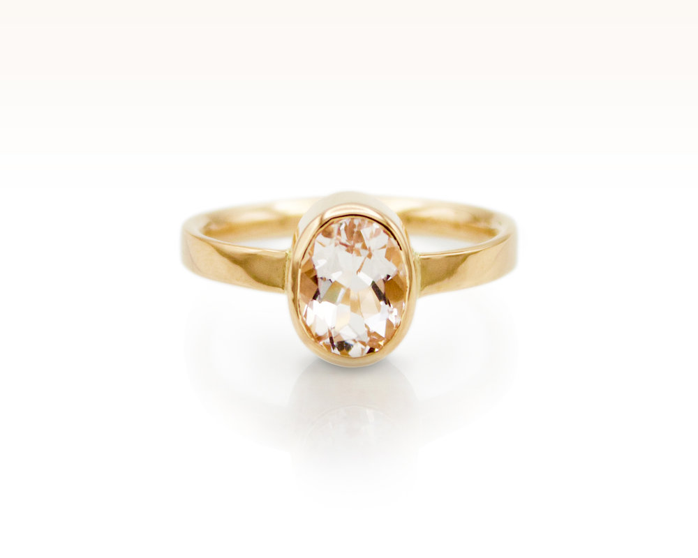 Rose Gold Beryl Wedding Engagement Ring by Forge and Fountain Jewelry