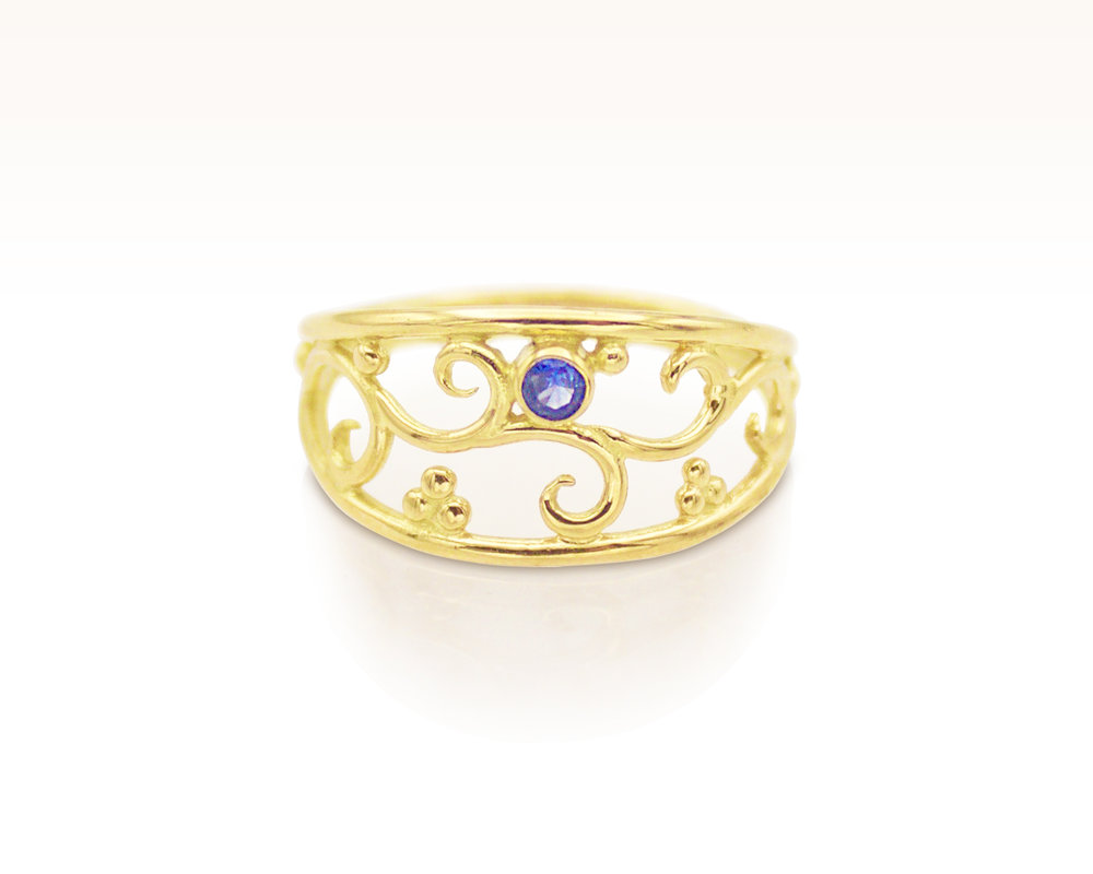 Filigree gemstone wedding ring by Forge and Fountain Jewelry