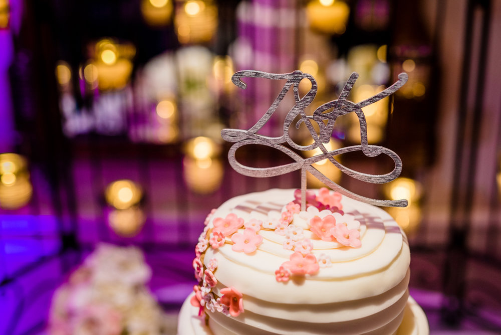 "classic diverse wedding in washington dc wedding cake with ""Z & K"" cake topper"