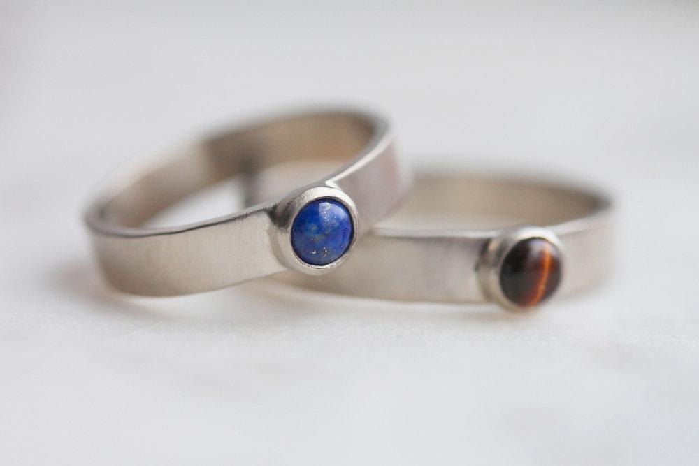 Lapis and Tigers Eye Custom Wedding Rings