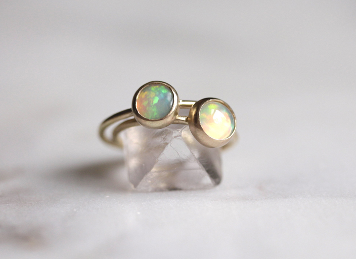 Custom Opal Wedding Rings