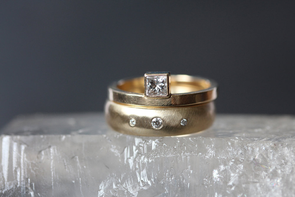 Alexandrine Diamond Wedding Ring  and  Alcott 5mm Diamond Wedding Ring