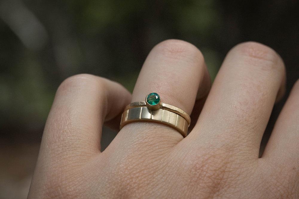 Granite Emerald Wedding Ring  and  Breakwater 4mm Wedding Band