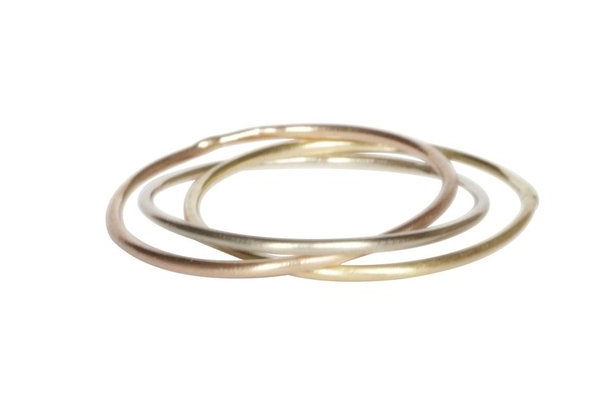 Thetis 3 Rings: Yellow, White, and Rose Gold Wedding Bands