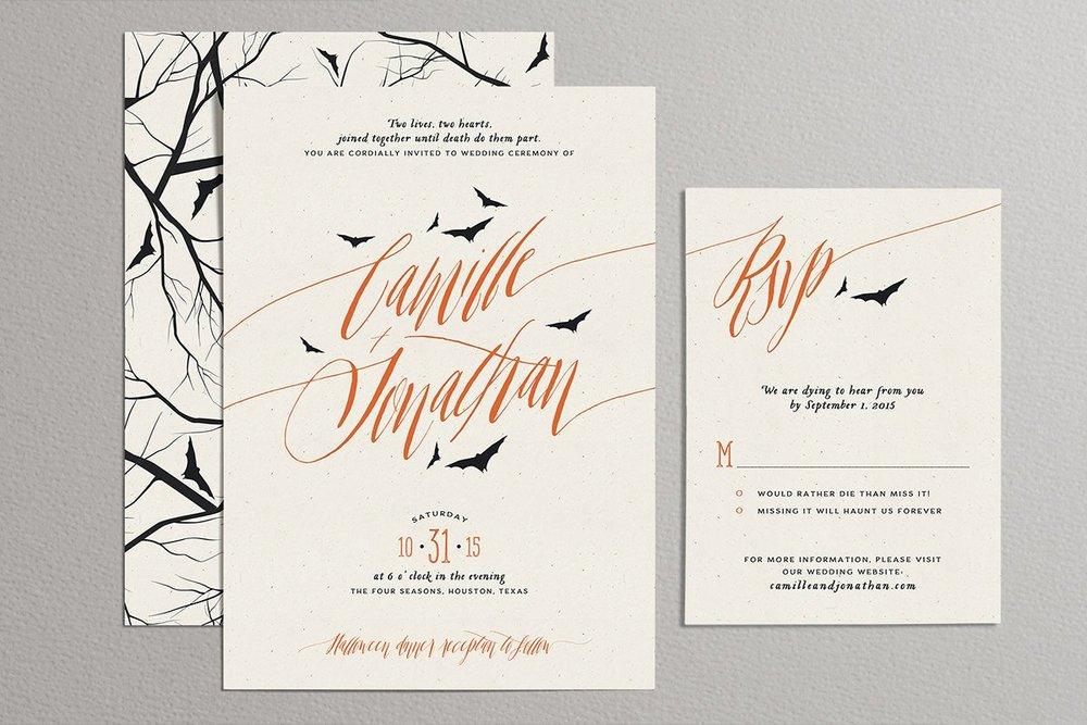 Print at home custom Bat and tree halloween wedding invitations