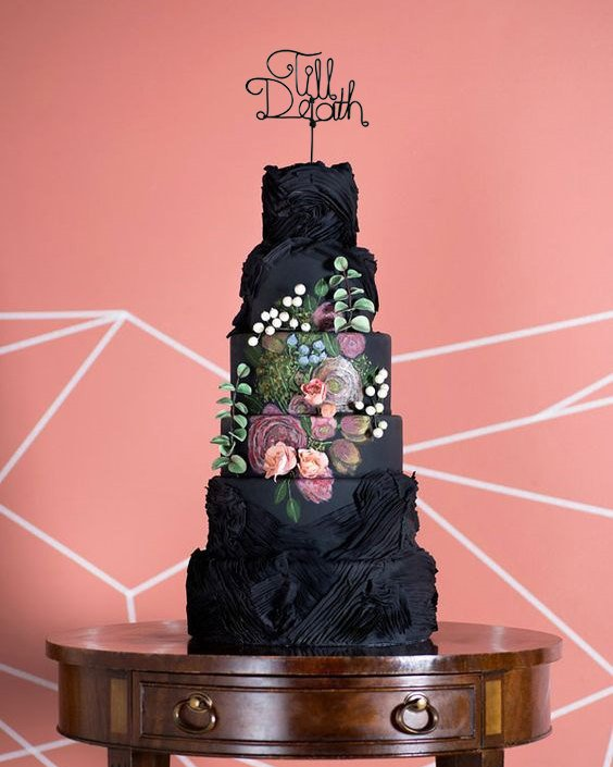 'Till Death black custom wedding cake topper