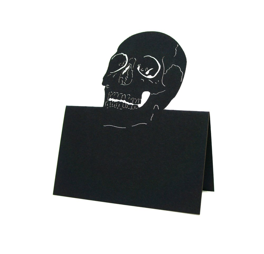 skull halloween wedding place cards