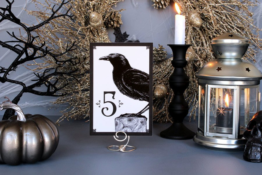 black crow halloween wedding table numbers