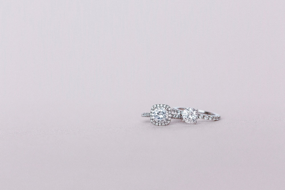 Petite Delicate Halo (Left) and Petite Floating Gem Ring (Right)