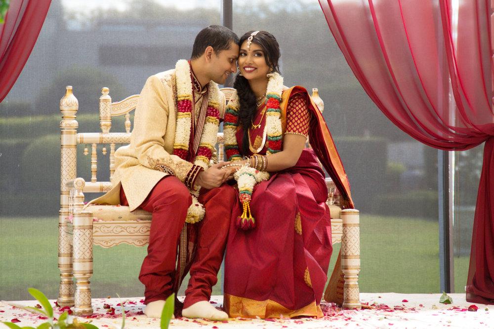 sri lankan wedding in sydney australia abirami and dilshan on ceremonial bench