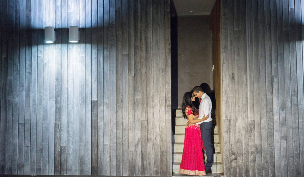 sri lankan wedding in sydney australia couple embracing in stairwell