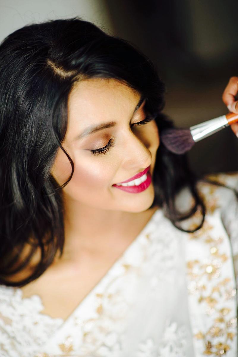 sri lankan wedding in sydney australia abirami having makeup done
