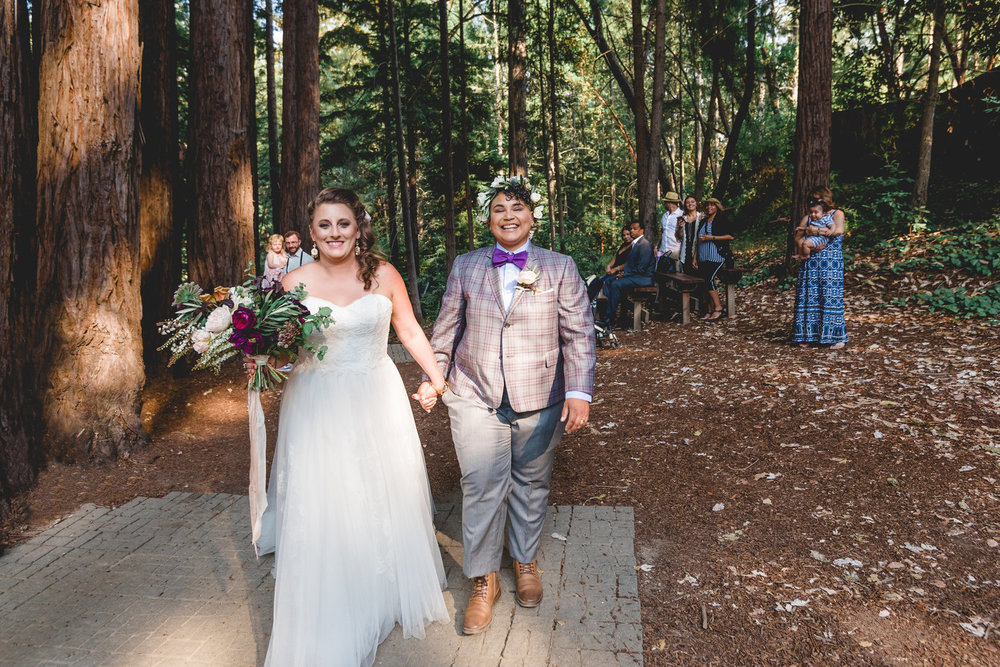 Carri + Roz's Sacred Redwoods Campsite Wedding. Photo by C Wagner Photography.