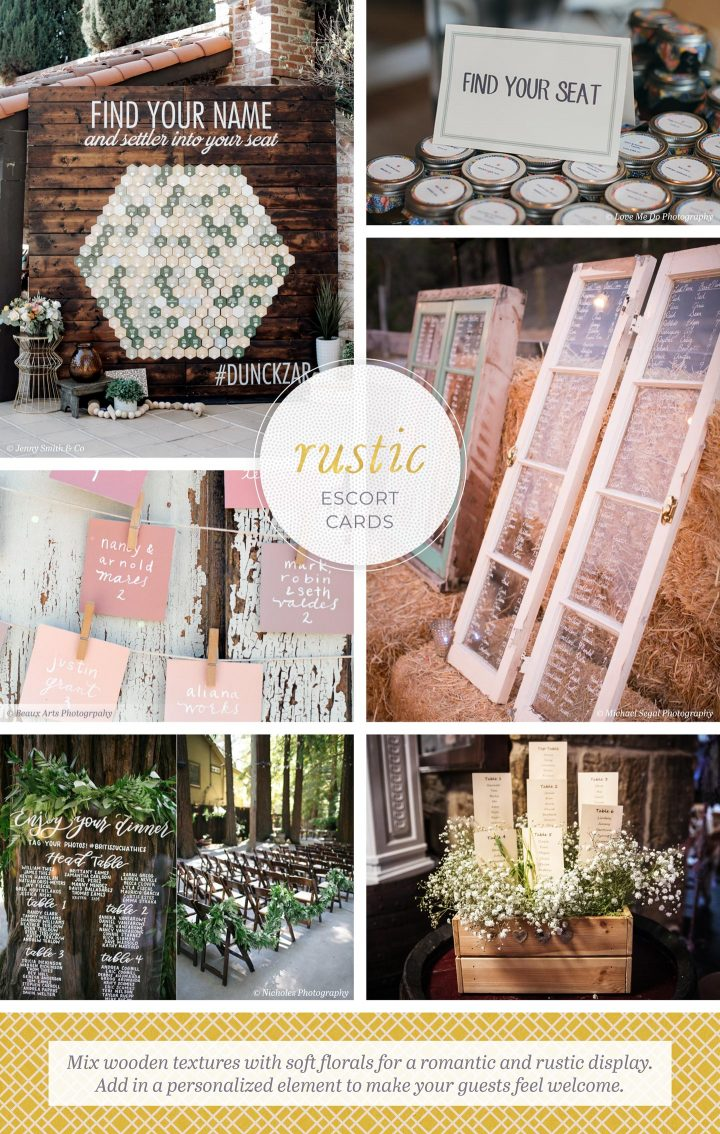 Rustic Escort Cards: 6 photos of escort cards. Mix wooden textures with soft florals for a romantic and rustic display. Add in a personalized element to make your guests feel welcome.