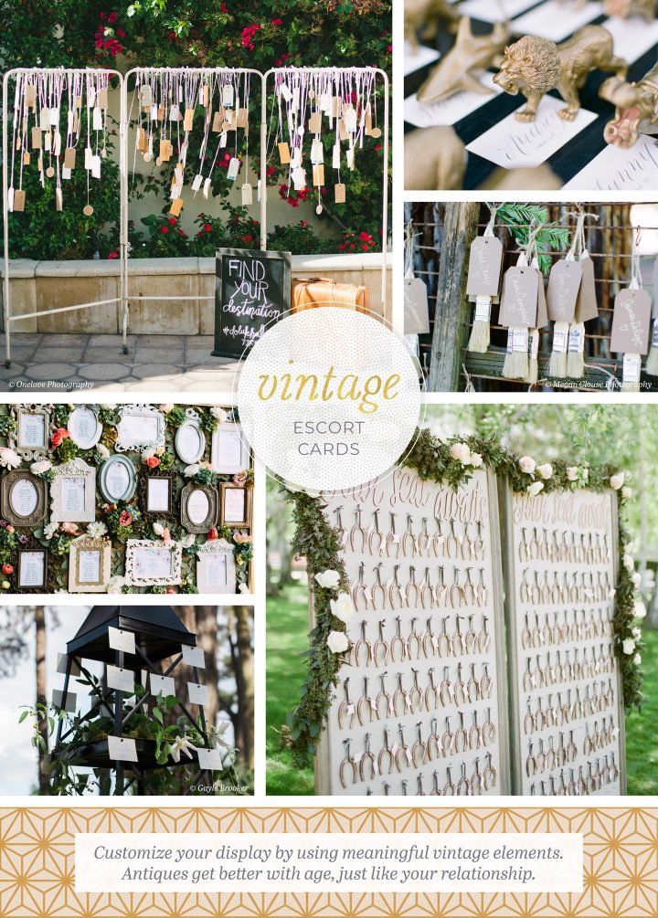 Vintage Escort Cards: 6 photos utilizing horseshoes, antique frames, and hang tags. Customize your display by using meaningful vintage elements. Antiques get better with age, just like your relationship.