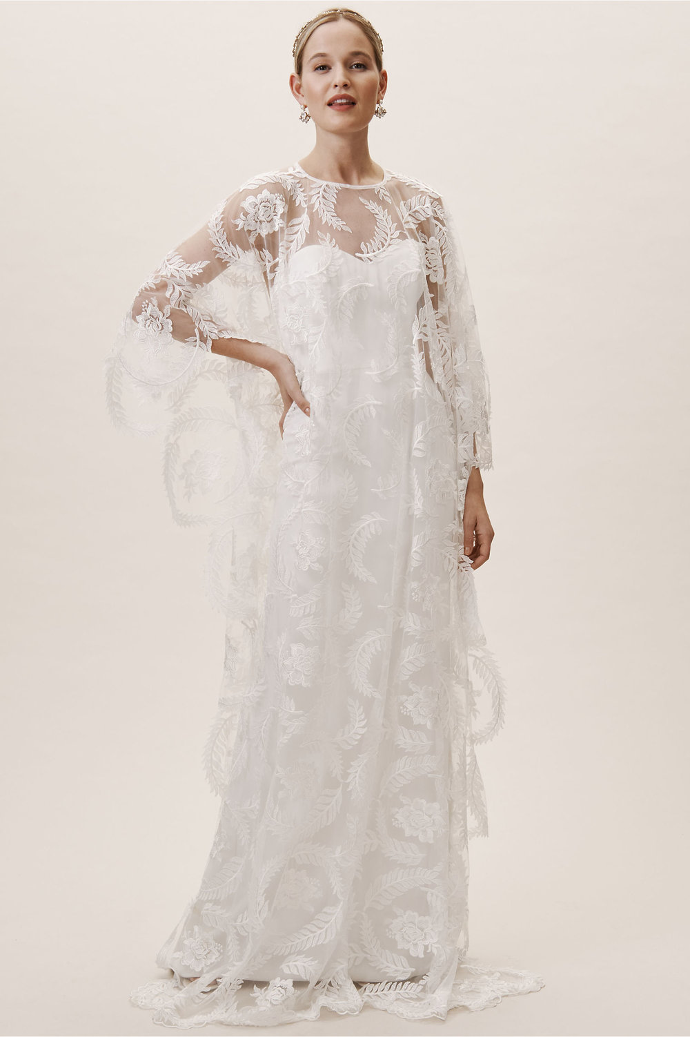feather lace flowing cape from BHLDN 2019 wedding collection